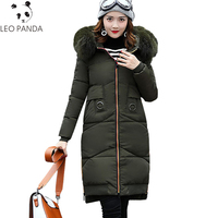 2018 Winter Female Down Cotton Jacket Large Fur Collar Hooded Parka Padded Mid Long Coat Women