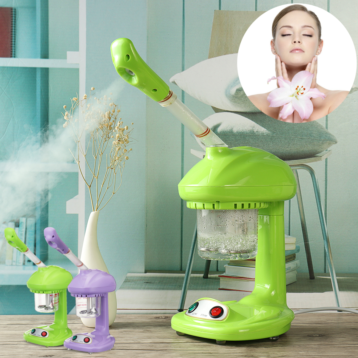 110V/220V US/EU Plug 480W Mini Table Facial Steamer Household Beauty Hot Spray Salon Spa Equipment Machine face Spa Device in garden mini spa