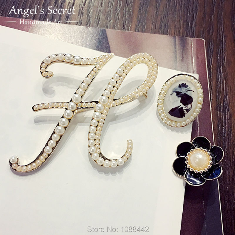 Super 2016 Elegant Pearl Flower Jewelry Original Letter H D Vintage  WO05
