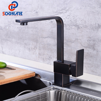 SOGNARE Kitchen Sink Tap Black 360 Faucet Single Hole Single Handle Solid Brass Kitchen Mixer Cold Hot Kitchen Tap Deck Mounted