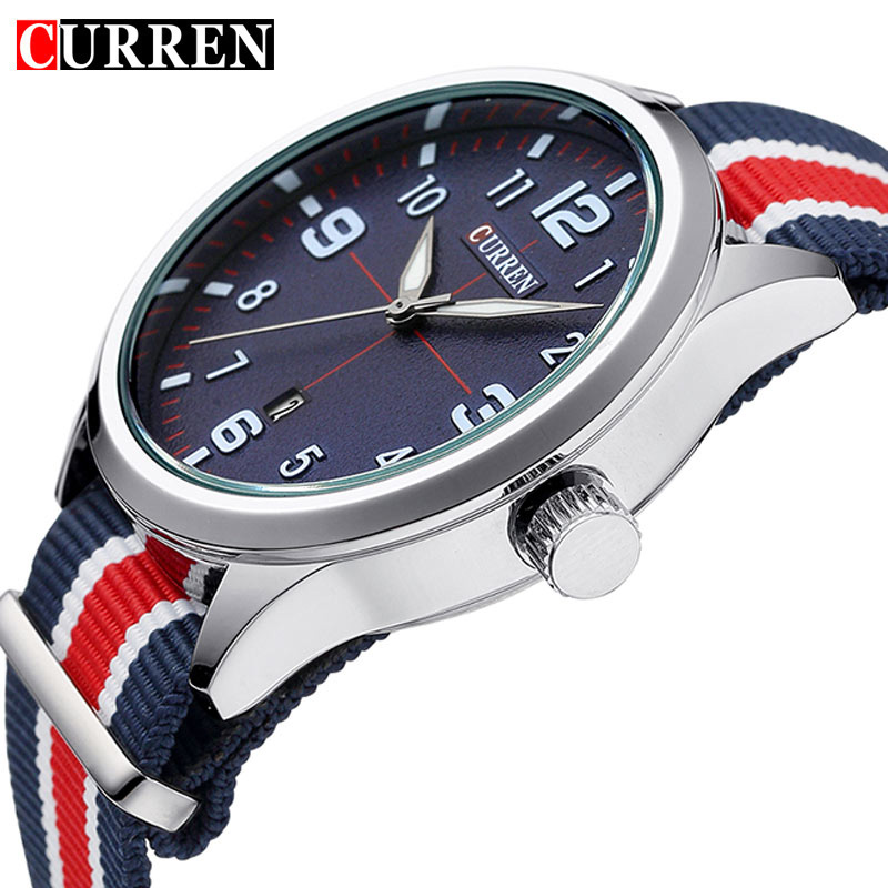 CURREN Fashion Men Watch Top Luxury Brand Sport Military Business Date Male Clock Nylon New Wrist Quartz Mens Watches Gift 8195 curren fashion watches men top brand luxury wrist quartz watch male men sport clock military design casual men s gift clocks