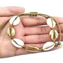 HIYONG Handmade Natural Seashell Hand Knit Bracelet Shells Bracelets Beaded Strand 2019 Women Accessories