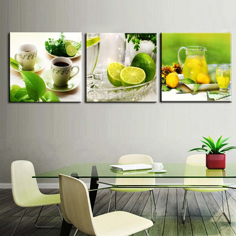Home Kitchen Decor Picture Fresh Fruit Salad Wall: 3 Piece Canvas Art For The Restaurant Fruit Wall Decor