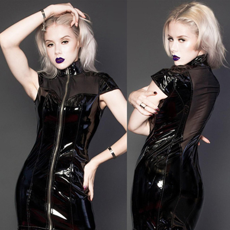 Sexy Women Gothic High Collar Sleeveless Black PVC Mini Dress Plus Size  Faux Leather Zip Up Wet Look Vestido Night Club Dress-in Dresses from  Women s ... 1b0a2b821062