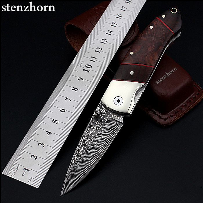 Stenzhorn 2017 New Real High Quality Survival Knife Self-defense Damascus Hardness Saber With Fruit Folding Outdoor Red Tassel high quality army survival knife high hardness wilderness knives essential self defense camping knife hunting outdoor tools edc