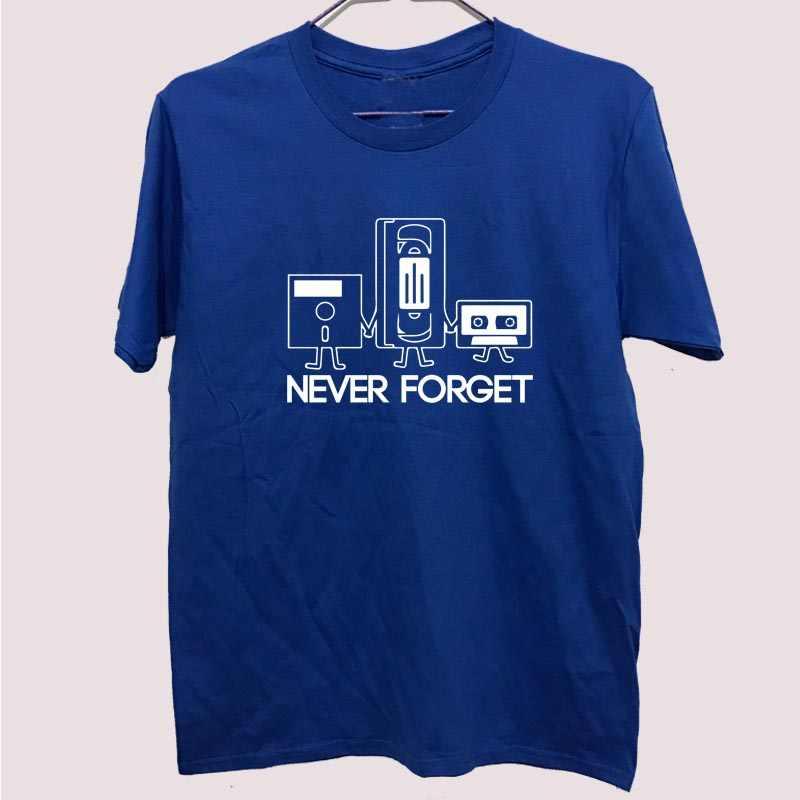 Moda nova t-shirts dos homens de manga curta nunca se esqueça disquete vhs cassete tecnologia geek impressão t camisas masculinas camisetas