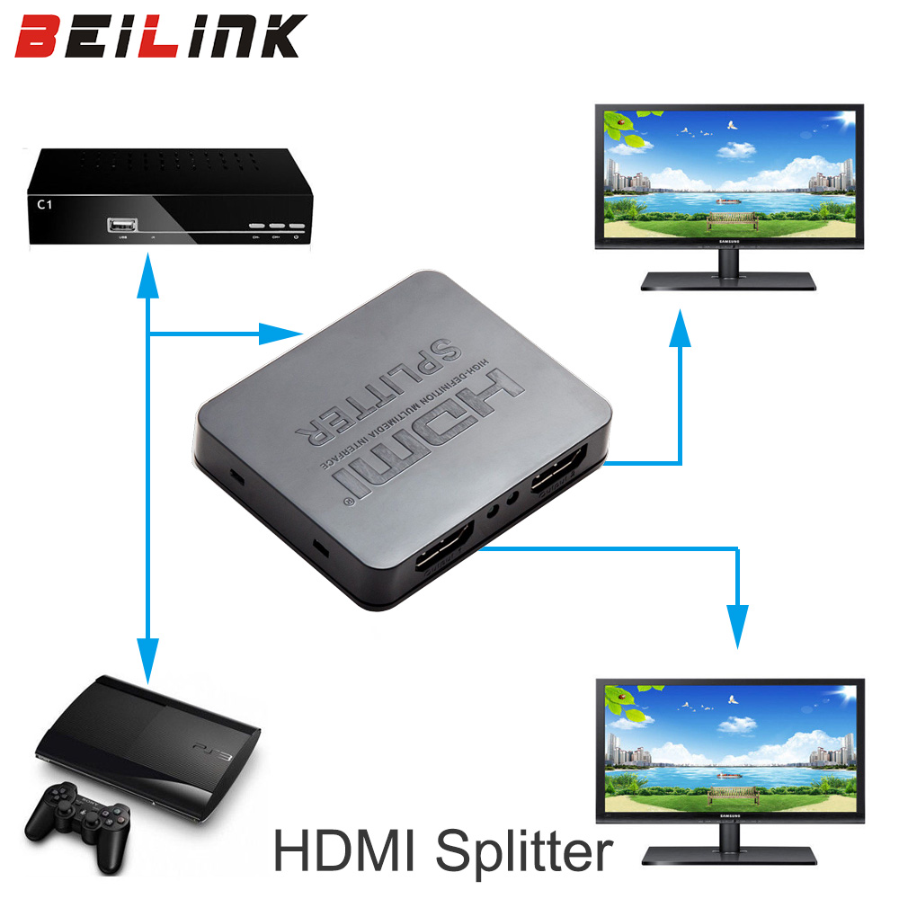 HDCP 4K HDMI Splitter Full HD 1080p Video HDMI Switch Switcher 1X2 Split 1 in 2 Out Amplifier Dual Display For HDTV DVD PS3 Xbox hdmi oem 5pcs 0 5 hdmi hdmi 1 4 3d ethernet blu ray 3d dvd ps3 hdtv xbox lcd hd 1080p 1 1 1