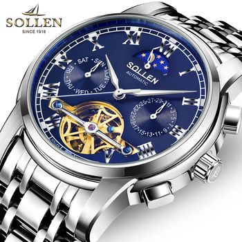 SOLLEN Mens Watches Top Brand Luxury Tourbillon Watch Men Stainless Steel Automatic Machine Watch Waterproof relogio masculino