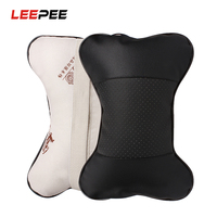 LEEPEE 2 piece/set PU Leather Hole digging Car Headrest Supplies Neck Auto Safety Automobiles Seat Covers Automobiles & Motorcycles -
