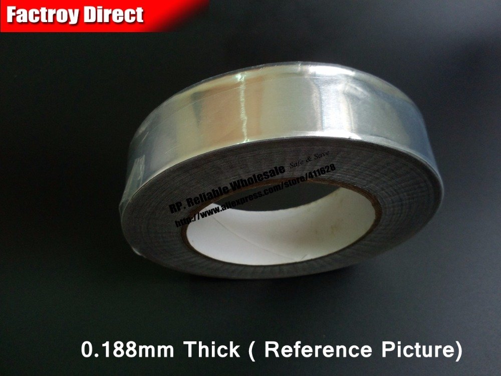 0.188mm Thick 25mm wide 25M long, One Side Hot Resist Waterproof Aluminum Foil Sticky Tape fit for Refrigerator, Fix 0 14mm thick 60mm 25m one face heat transfer waterproof aluminum foil sticky tape fit for fix kitchen