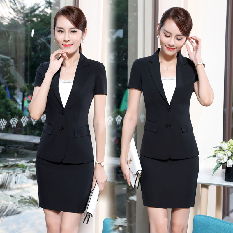 Summer New Fashion Short Sleeve Formal OL Styles Blazers Suits For Ladies Office Plus Size 3XL Professional Blazer Outfits Black