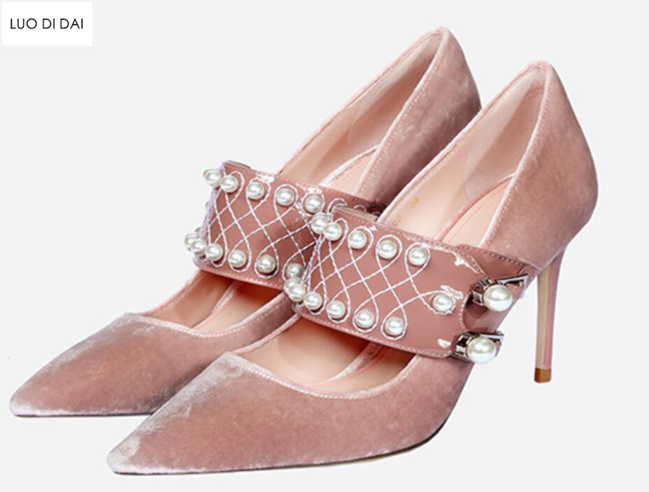 2018 New women velvet high heels thin heel pink velvet pumps party shoes thin heel point toe white pearl pumps dress shoes aercourm a 2018 new women genuine leather shoes ladies white pink dress solid shoes thin heel women pointed head pumps fde1121