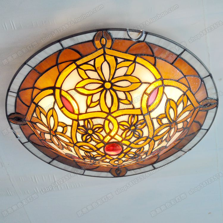 Free shipping 16-inch American Antique Ceiling Tiffany bedroom children study stained glass lamps lighting
