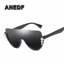 d78936a13f Oversized cuadrado gafas de Sol mujer 2018 Nuevo Marco grande perla  decoración claro lente gafas de Sol para las mujeres UV400 g.