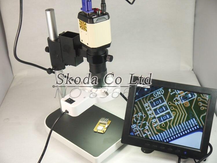 2.0MP HD Industry Microscope Camera VGA USB AV TV Video Output+100X C-Mount Lens+Stand Holder+56 LED Ring Light+8LCD screen