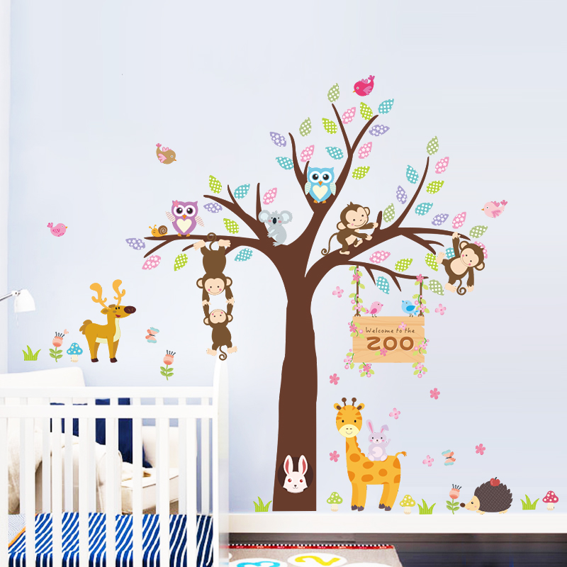 Owls Jungle Animals Wooden Bedroom Furniture Kids: Jungle Monkey Owl Giraffe Tree Forest Animals Wall Sticker