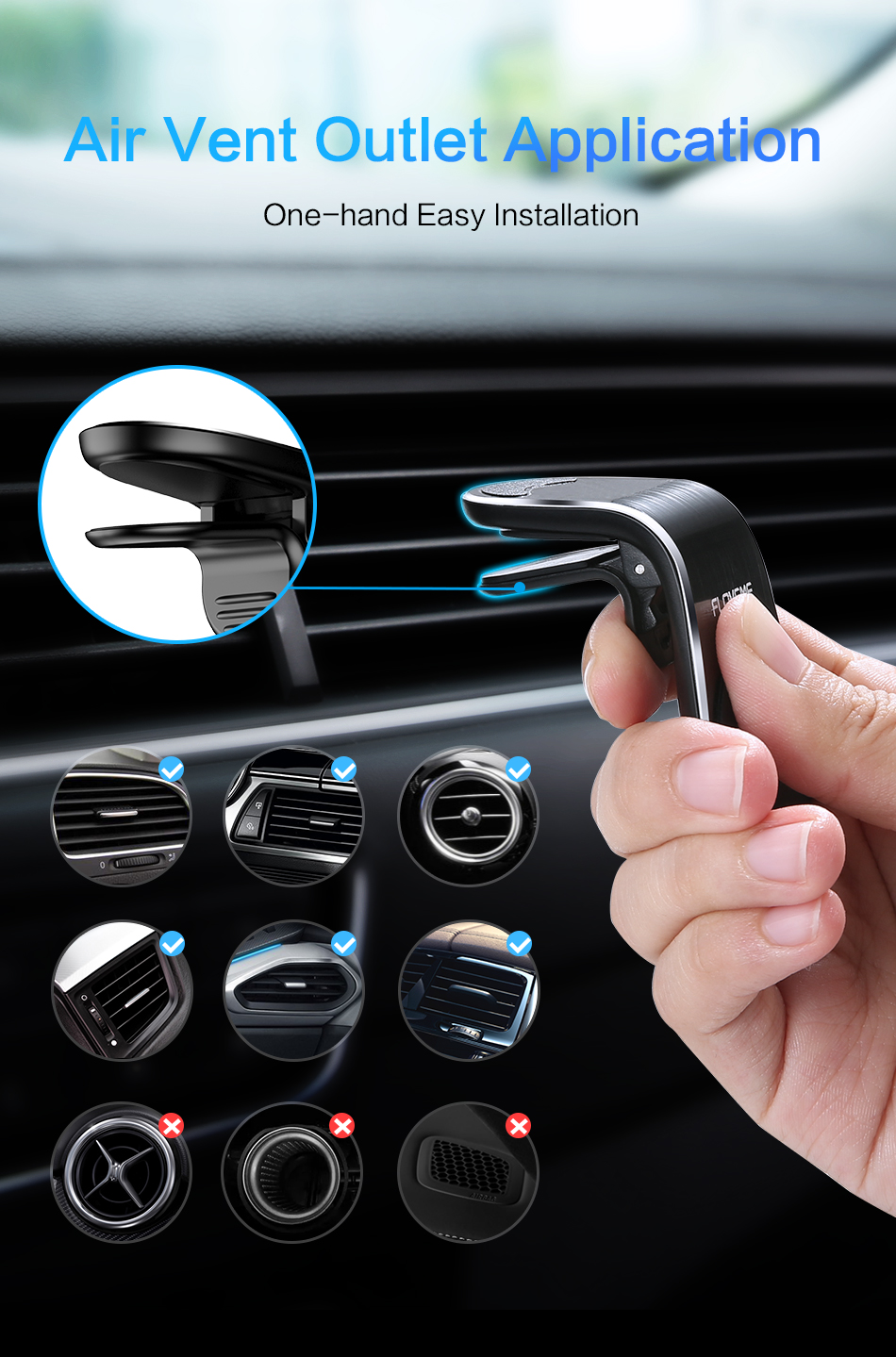 FLOVEME Magnetic Car Phone Holder L Shape Air Vent Mount Stand in Car Magnet GPS Mobile Phone Holder For iPhone X 8 7 Samsung S9