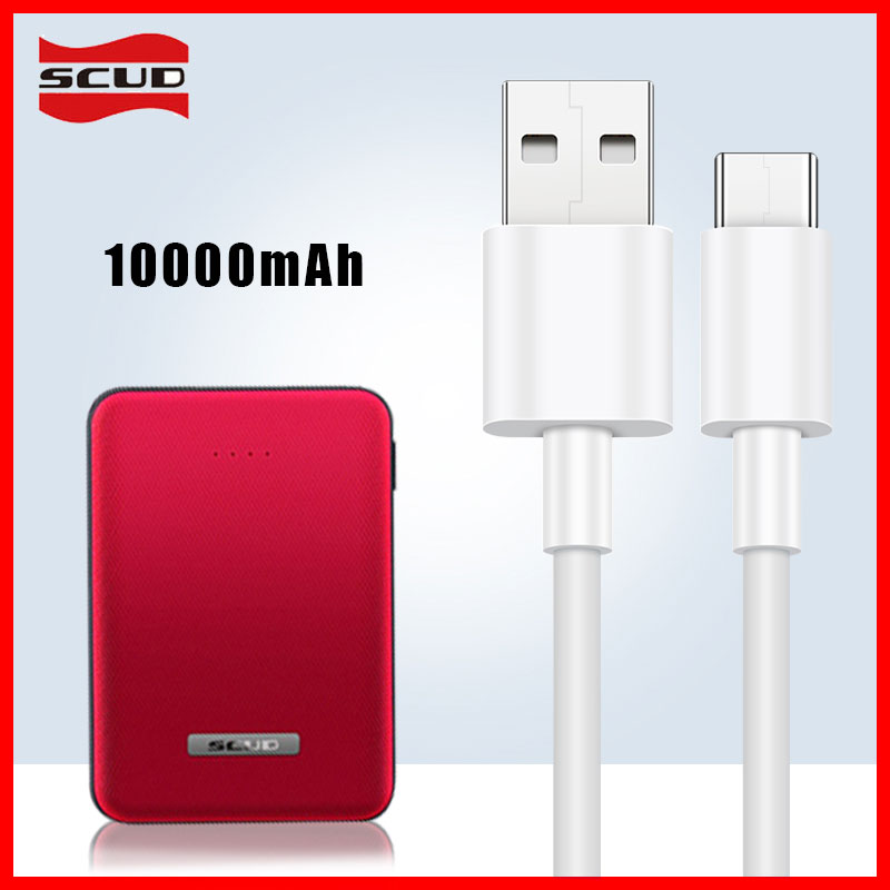 Mini batterie externe Scud 10000 mAh + 2 m micro câble USB petite banque d'alimentation rapide mince pour Xiaomi Huawei LG Samsung téléphone mobile Android