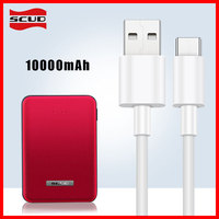 Scud mini power bank 10000mAh + 2m micro USB cable small slim quick powerbank for Xiaomi Huawei LG Samsung mobile phone Android