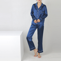 2017 Womens Silk Satin Pajamas Sets Loose Sleepwear Long Sleeve Nightgowns Long Pants Sleepwear Pajamas Sets