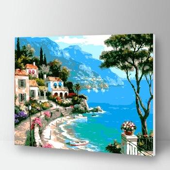 Peinture à numéros maisons au bord de la mer 2