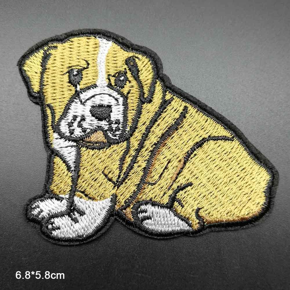 Пятнистая собака полная вышивка Железная на вышитой одежде нашивки для одежды наклейки одежды торговля - Цвет: huangbai gou