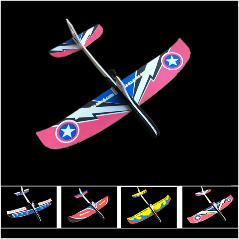 Hotrc Hand Throwing Airplane Free-flying Fix Wing Foam Capacitor Electric Glider DIY Plane Model Educational Toy for Kids