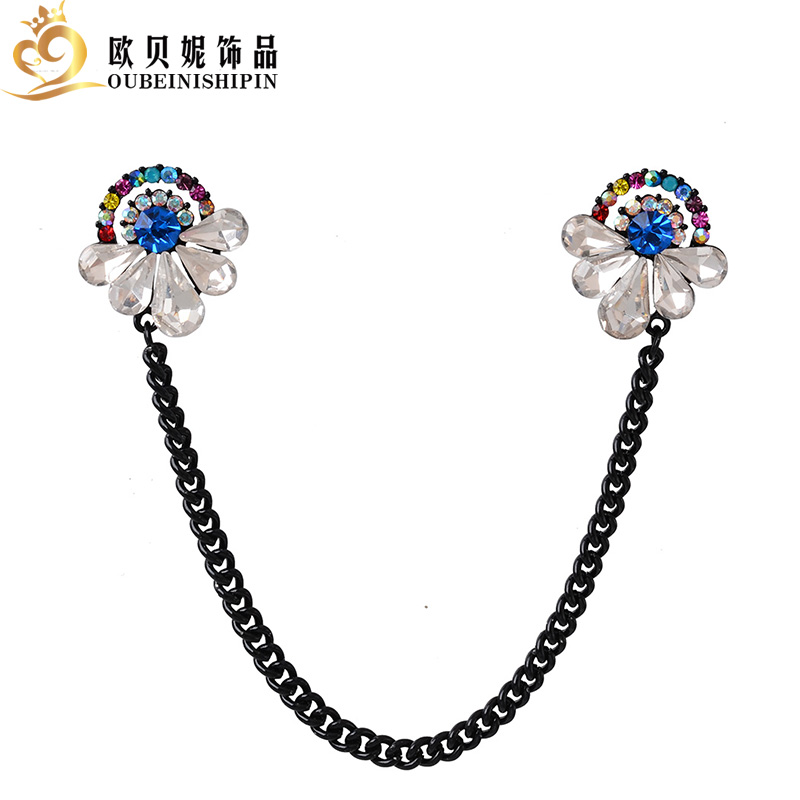 OBN Vintage Retro Rhinestone Peacock Feather CZ Chain Collar Clip Pin Brooch Metal Tassel Tips Bijoux Jewelry