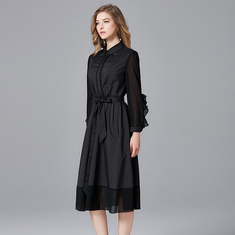 2019 mode design femmes arc a-ligne casual robes couleur noire grande taille printemps automne femmes marque noir a-ligne robe - 4