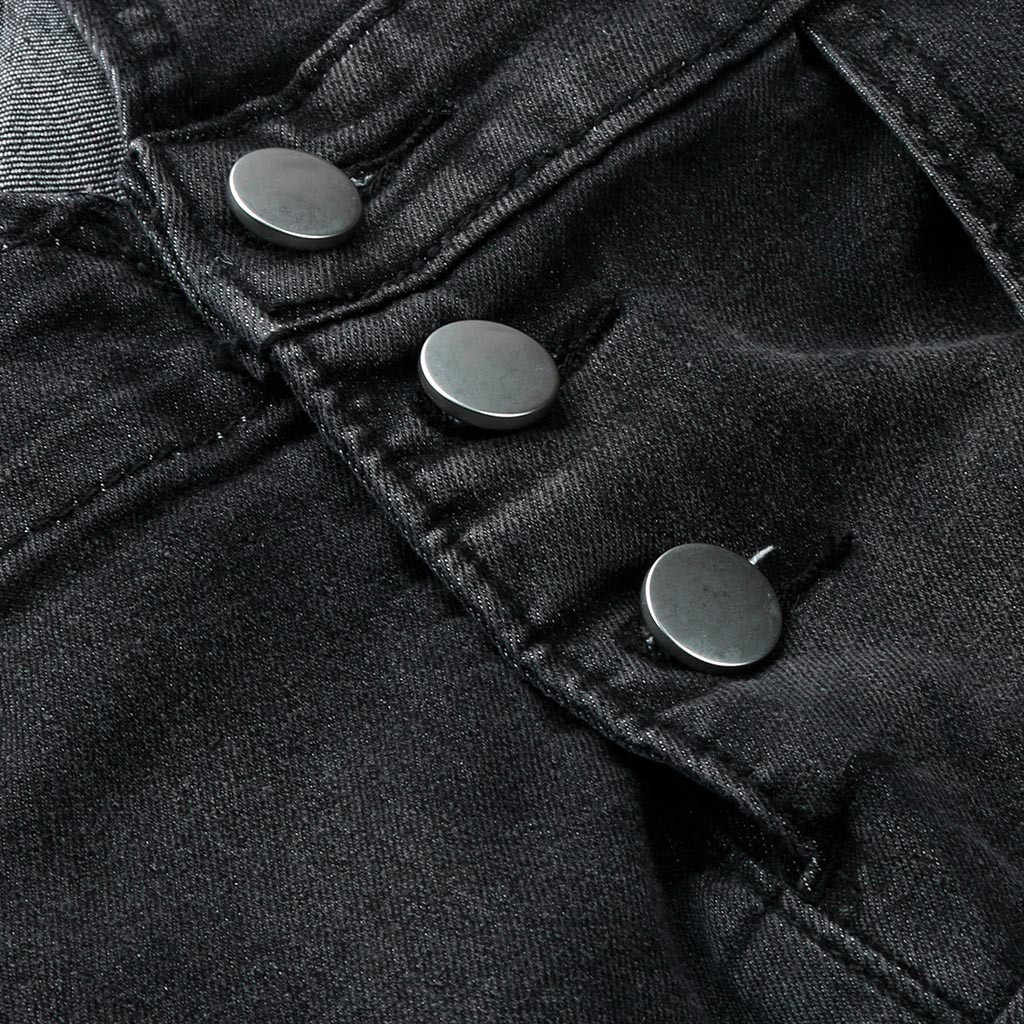 แฟชั่นผู้ชายกระเป๋า Denim Suspenders โดยรวม Casual Jumpsuit กางเกงยีนส์หักกระเป๋ากางเกงกางเกง Fe1