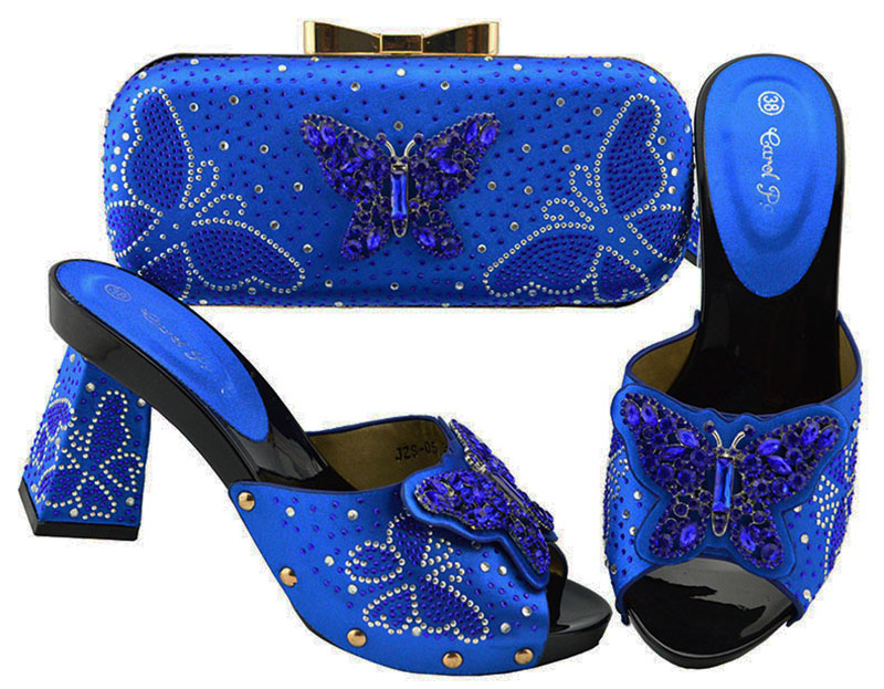Nigerian Style Woman Shoes And Bag Set Latest shoes royal blue wedding shoes and bags For Wedding party shoes JZS-05Nigerian Style Woman Shoes And Bag Set Latest shoes royal blue wedding shoes and bags For Wedding party shoes JZS-05