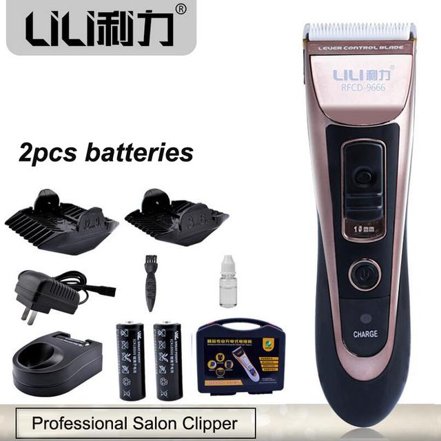 Profesional 15 W hombres Titanium Haircut Trimmer Eléctrico Del Pelo Del Bebé Del Pelo Clipper máquina De Afeitar De Corte 2 UNIDS 1400mA Li batería