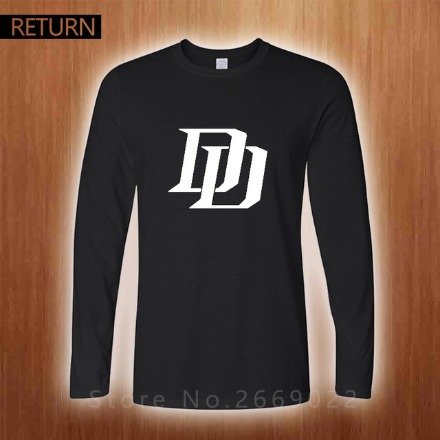 Daredevil DD LOGO Printed Mens Men T Shirt 2016 Spring And Autumn cotton t-shirts tee for men free shipping