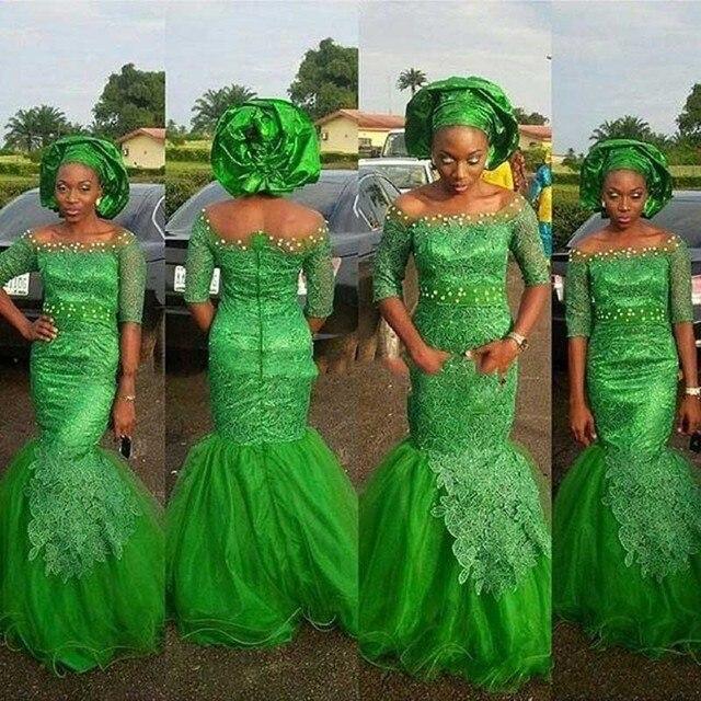2ba1dbfcc Abendkleider Estilo Nigeriano Verde Longo Vestidos Sereia Africano Aso Ebi  Rendas Formais 2017 Chegada Nova Custom Made