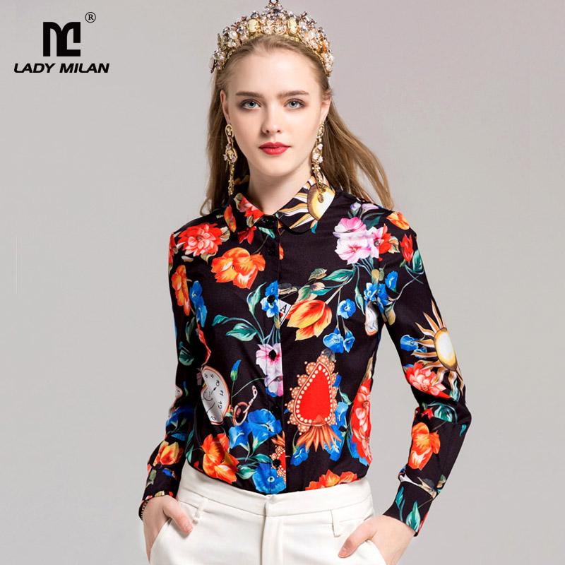 New Arrival 2018 Womens Turn Down Collar Long Sleeves Floral Printed High Street Fashion Shirts