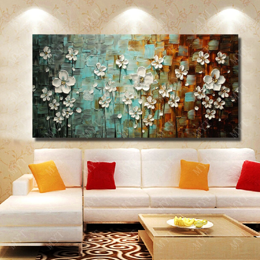 Beautiful Design Flower Home Wall Decoration Hand Painted Knife Oil Painting For Sense Decor In Calligraphy From Garden On