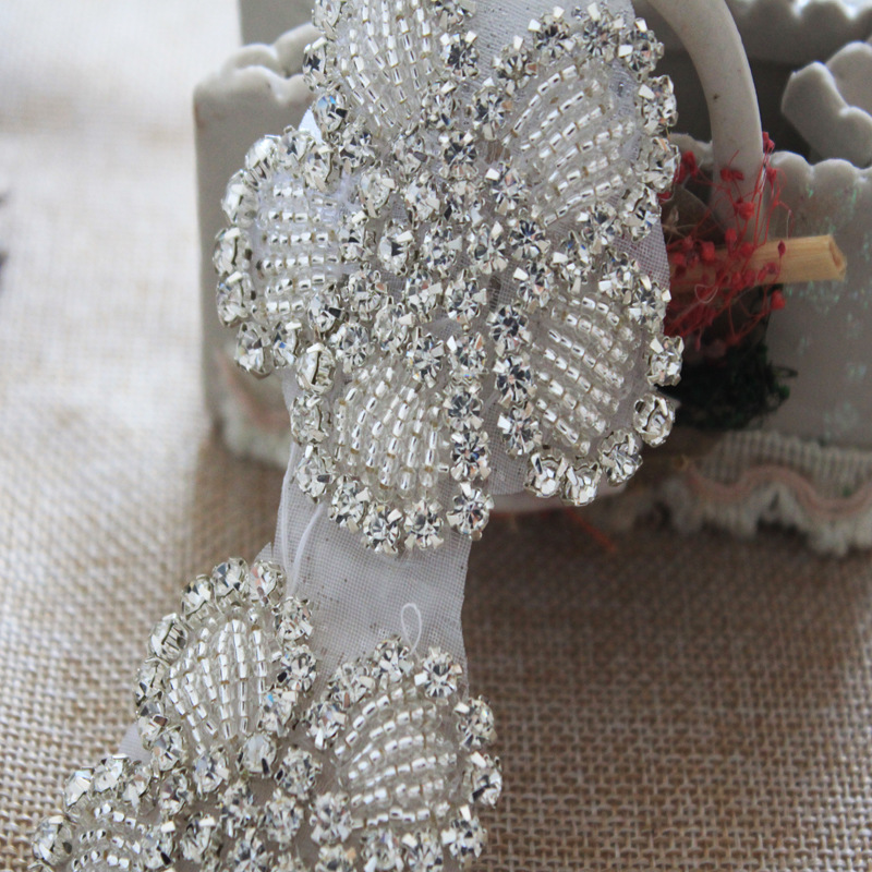 Free ship hand beaded sewing on silver crystal rhinestone applique patch  for dresses headband DIY iron on 10pcs lot 5.8cm 566e4432573a