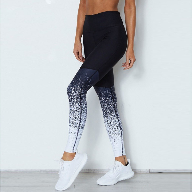 Gradient Color Women Fitness   Leggings   High Waist Slim Workout Pants Pencil Stretchy Trousers   Legging   Skinny Gothic Leggins