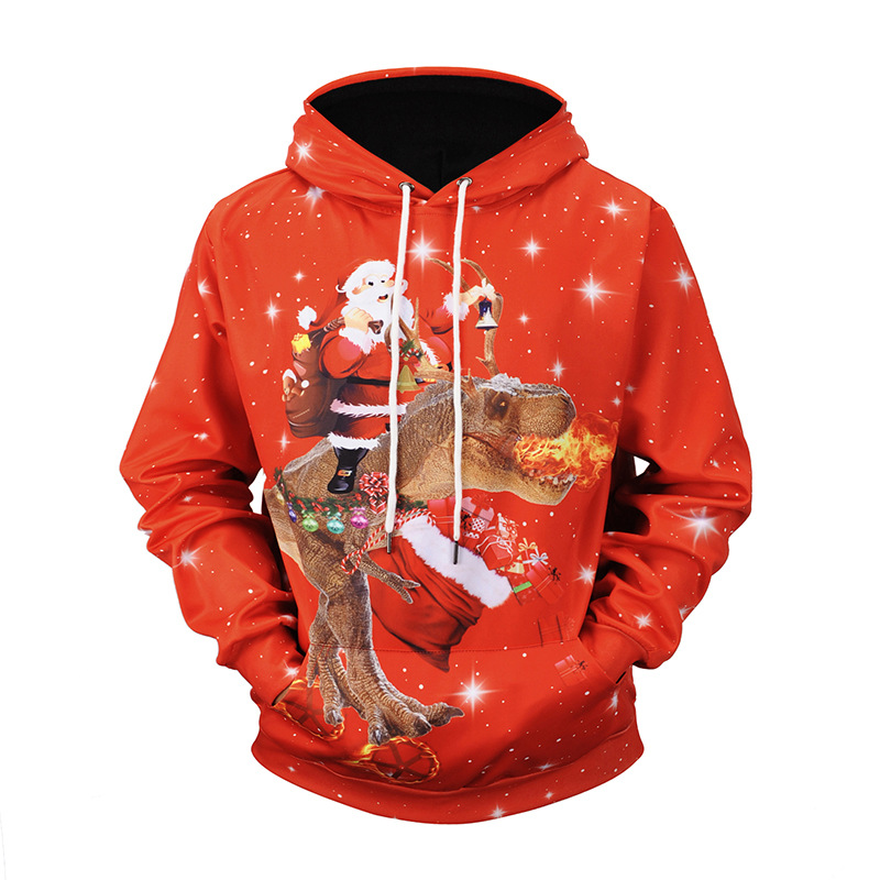 Hoodie Men Sweatshirt Boys Christmas Hoodies Pullover Male Hooded Jacket Dinosaur Print Men Clothing Red Xxl Xxxl Men's Clothing
