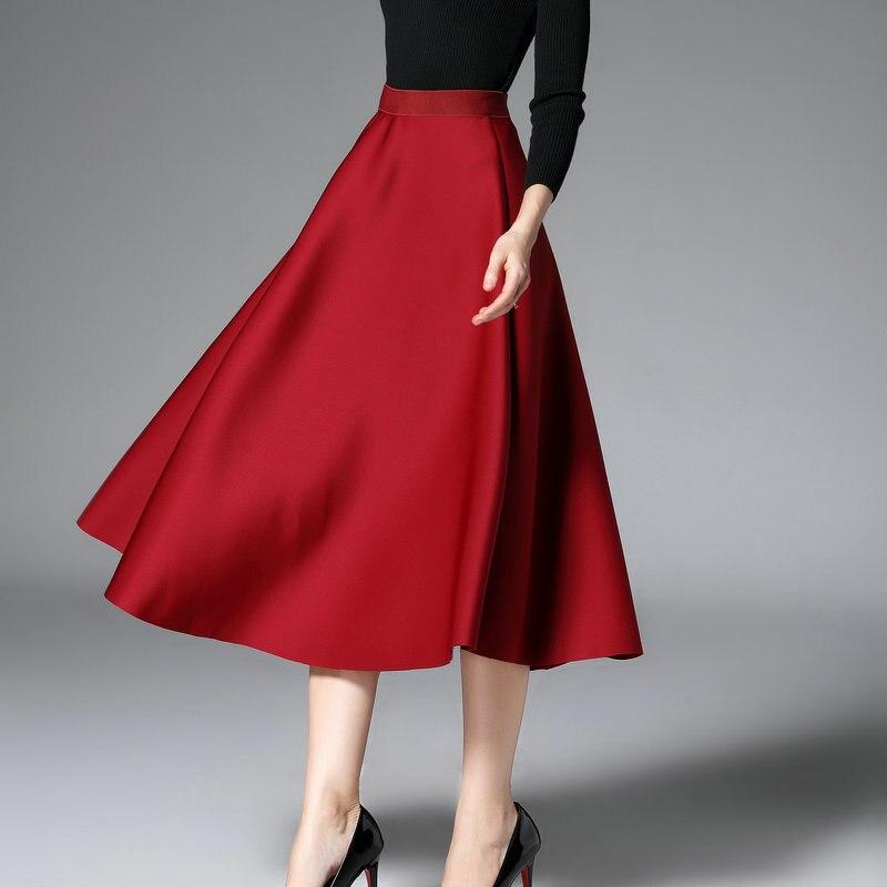 skirt 2017 autumn new loose waist A word space cotton high waist long skirt skirts air layer 8618