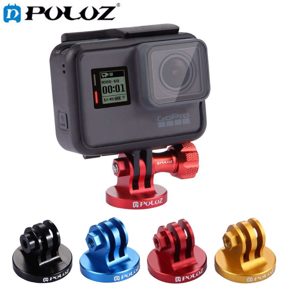 PULUZ <font><b>1/4</b></font> inch <font><b>Screw</b></font> Hole <font><b>Tripod</b></font> <font><b>Mount</b></font> CNC <font><b>Adapter</b></font> for GoPro NEW HERO/HERO7/6/5/5 Session/4/3/2/1/Xiaoyi/DJI OSMO Action Cameras image
