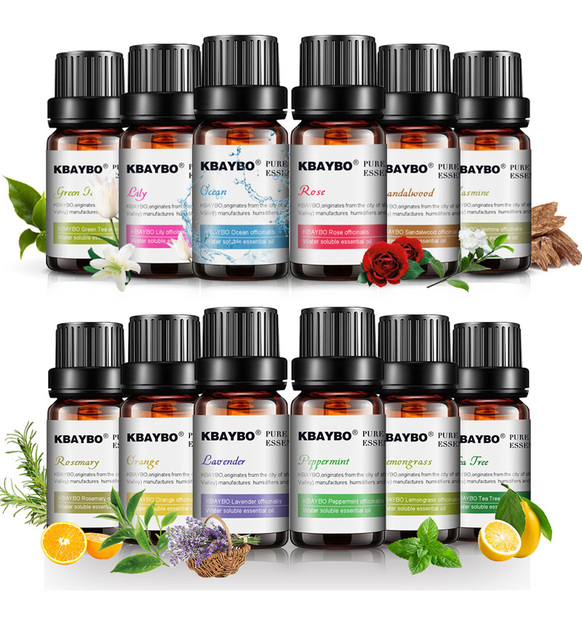12 Bottles 10ml Pure Essential Oils for Aromatherapy Diffusers Lavender Tea tree Lemongrass Orange Rosemary Oil Home Air Care