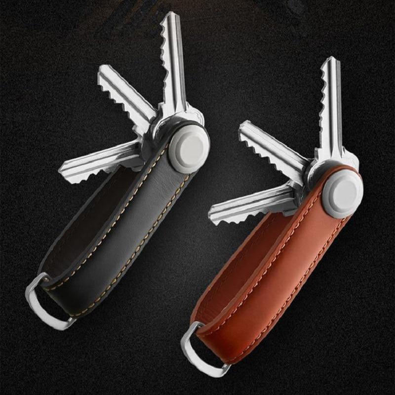 מותג חדש עור מקורי מפתח חכם ארנק מחזיק מפתחות ארגונית DIY ציוד Keychain מעצב מעצב יצירתי - Gibo עוג'ה