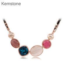 Kemstone Роскошные Красочные Опалы Голубой Цирконий Choker Ожерелье Из Розового Золота цвета Женщины Партия Ювелирных Изделий