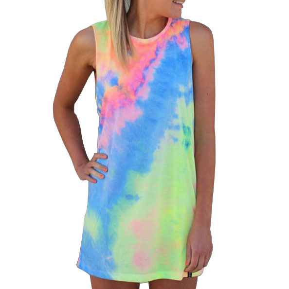 Aliexpress Uk Tie Dye Mini Dress Tropical Women Colorful Flowers ...