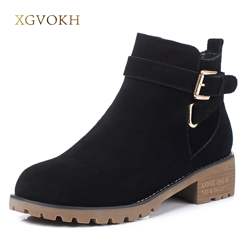 XGVOKH Women Boot Fashion Buckle Genuine Leather Autumn winter Keep Warm Short Boots High Quality zip Women's Black Shoes цена и фото