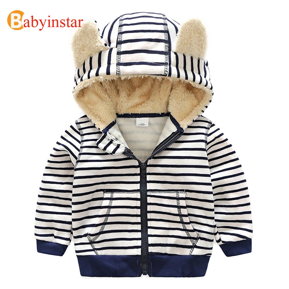 Babyinstar 2017 New Fashion Boy's Hooded Coat Autumn Long Sleeve Stripe Outwear Plus Velvet Hoodies Kids Warm Jacket