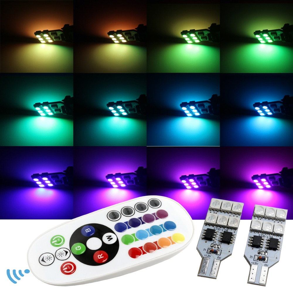 Free shipping 2pcs Remote Control 12v T10 W5W 168 12smd 5050 colorful RGB LED Car Interior light Dome Reading Light Lamp Bulb free shipping remote control colorful modern minimalist led pyramid light of decoration led night lamp for christmas gifts