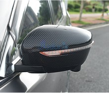 цена на Carbon Fiber Car Styling Door Mirror Cover Rearview Overlay Panel Trim 2016 2017 2018 For Nissan Qashqai Rogue Sport Accessories