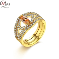 Crystal Jewelry Promise Rings For Couples Men Women Gold Silver Colour Wedding Rings